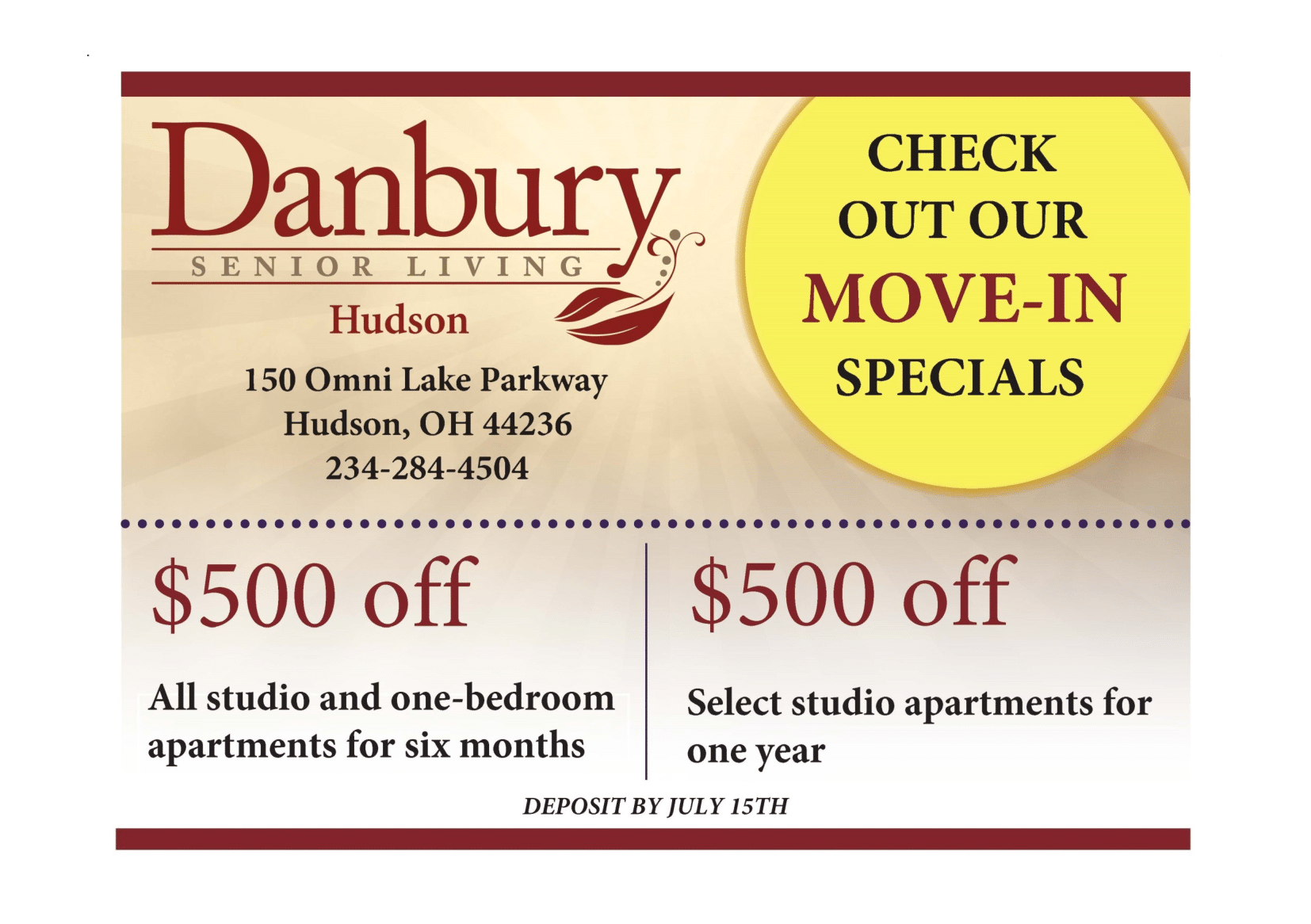 Move-In Specials Available Until July 15th