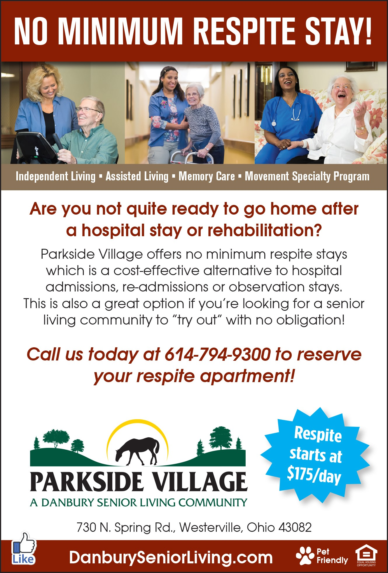Not quite ready to go home after a hospital stay or rehabilitation? Learn more about Danbury Senior Living Parkside Village no minimum respite stays.